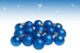 Blue Christmas balls isolated on white background.