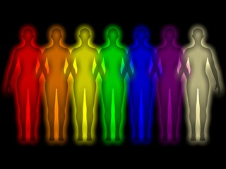 Simple background with colored Human energy body