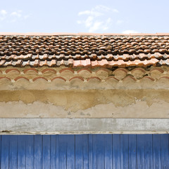 French Village roof with gate Provence France