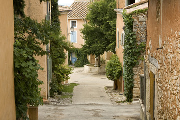 French Village street with fountain Provence France