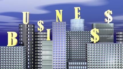 Business written on buildings