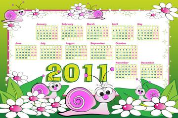 2011 Calendar with snails