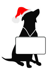 santa dog and messageboard