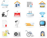 Real Estate and Accommodation amenities icon set poster