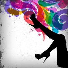 Streszczenie kolorowe tło z kobieta nogi sylwetka