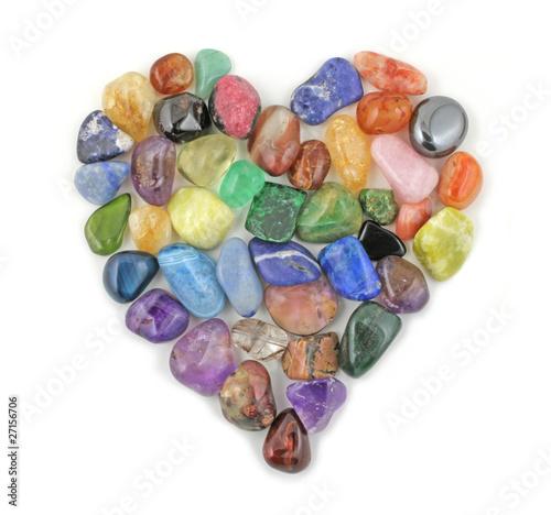 Fotobehang Edelsteen Crystal gem stones in shape of heart