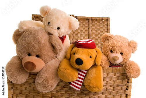 teddys in a toy chest