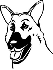 Black and white German shepherd cartoon