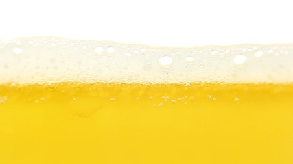 Beer foam, isolated on white, timelapse.