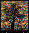 tree on colorful squares