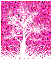 white tree on pinky squares