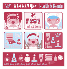 Big lady's health, beauty and spa icons set. Girls and objects e