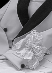 Formalwear jacket, wedding garter, gloves in  black & white