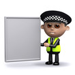 3d Police officer uses the whiteboard