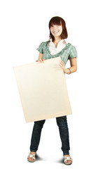 girl in holds an empty poster