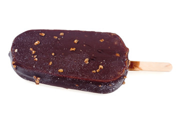 Chocolate ice cream isolated on a white background