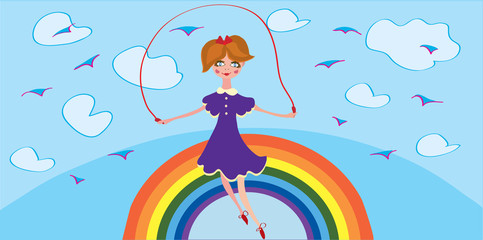 Funny banner with girl and rainbow in the sky