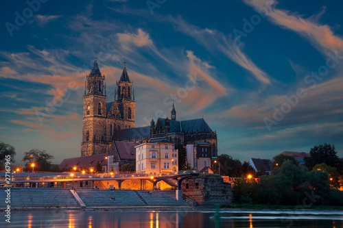 canvas print picture Dom bei Nacht