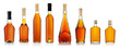 Set of brandy bottles isolated on white background