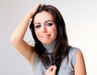 Crying woman towards