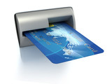 Inserting credit card into ATM poster