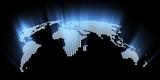 glowing hi-tech world map 3d illustration