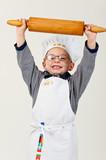 kleiner Bäcker mit Teigrolle - Fine Art prints