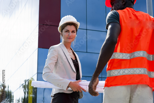 Young female engineer on construction site