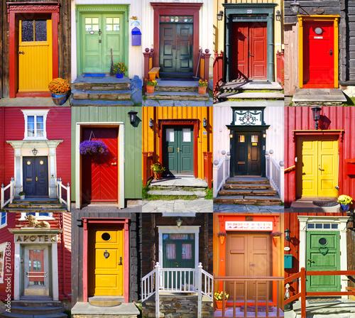 Fototapeta Collage of doors in Røros. Norway