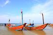 fisherman long tail boat park at the Rayong beach