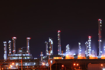 petrochemical oil refinery plant shines at night