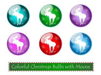 Set of Christmas Bubls with Moose Vector