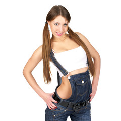 Beautiful sexy woman in jeans overall