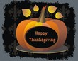 Thanksgiving Design. Colorful leaves flying around pumpkin