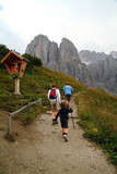 Hiking trail to reach Pisciadù refuge from Gardena pass poster