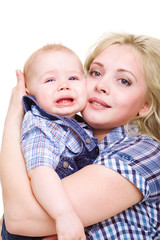 Woman holding son