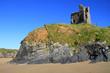 Ballybunion castle on the rocks in the west coast of Ireland
