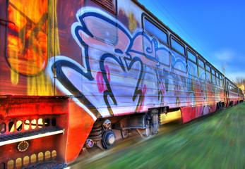 Train in motion blur
