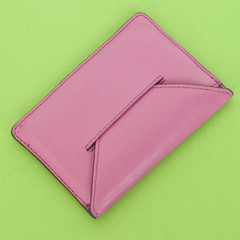 Pink Wallet on Vibrant Green