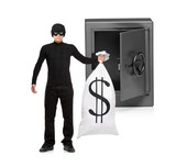 Full length portrait of a thief stealing a money bag from a safe poster