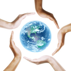 Earth with multiracial human hands. on white background.