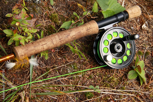 Salmon fishing fly rod and reel