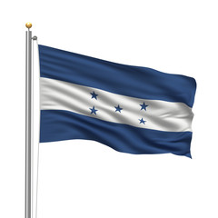 Flag of Honduras waving in the wind in front of white background