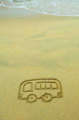 bus drawing in the sand