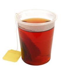 tea in plastic cup