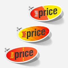 Half, hot and low price signs