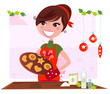 Secret recipe: Woman preparing christmas cookies. VECTOR