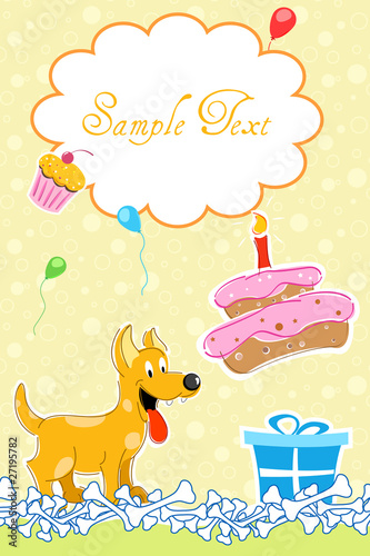 puppy in birthday card