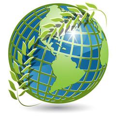globe with wreath