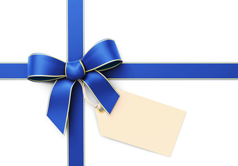 Blue silk ribbon with blank tag